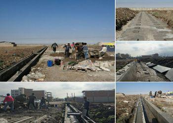 عملیات جدول بندی معابر شهری  انتهای ۲۰ متری بوستان