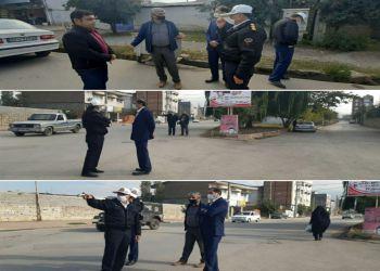 بازدید معاونت شهرداری در معیت رئیس پلیس راهور شهرستان از نقاط حادثه خیز شهر